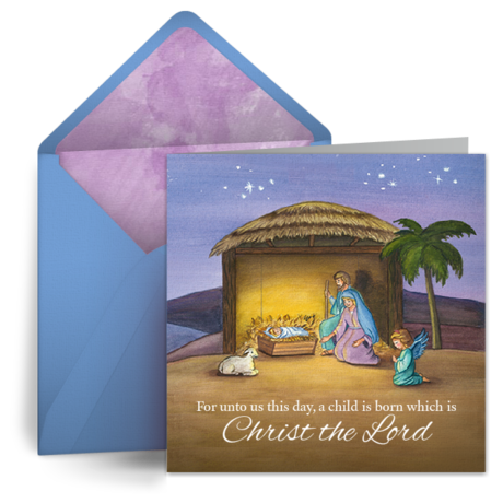Nativity Watercolor   Free Christmas eCard, Christian ...
