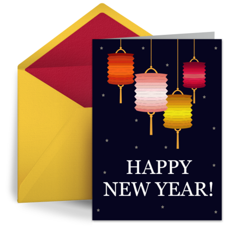 Simple Chinese Lanterns | Free Chinese New Year Card ...