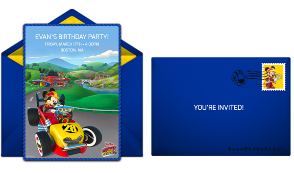 Send Mickey and the Roadsters online invitations