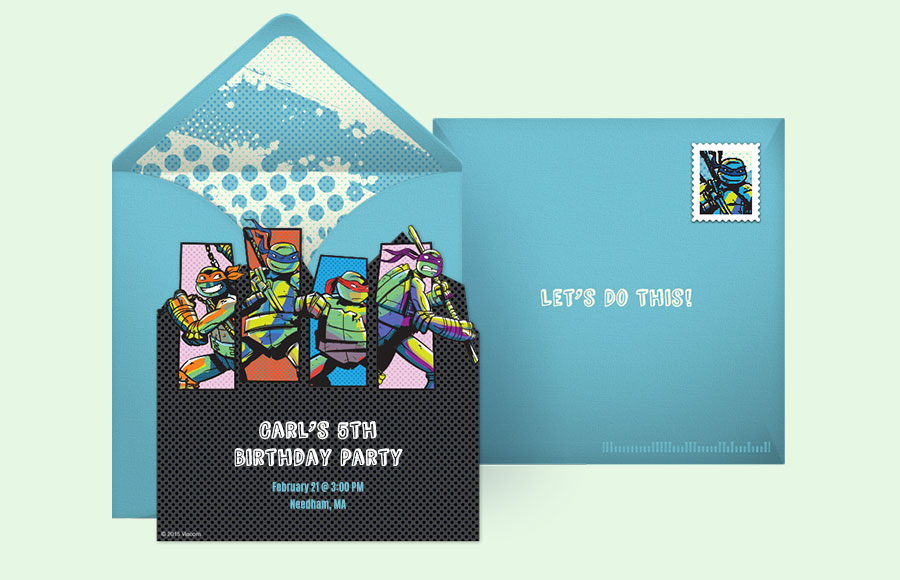 Free Ninja Turtles Invitations Teenage Mutant Ninja Turtles – Punchbowl Birthday Invitations