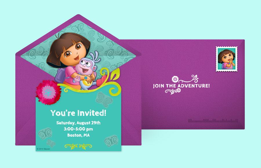Free Dora Invitations Dora the Explorer Online Invitations – Dora the Explorer Birthday Invitations