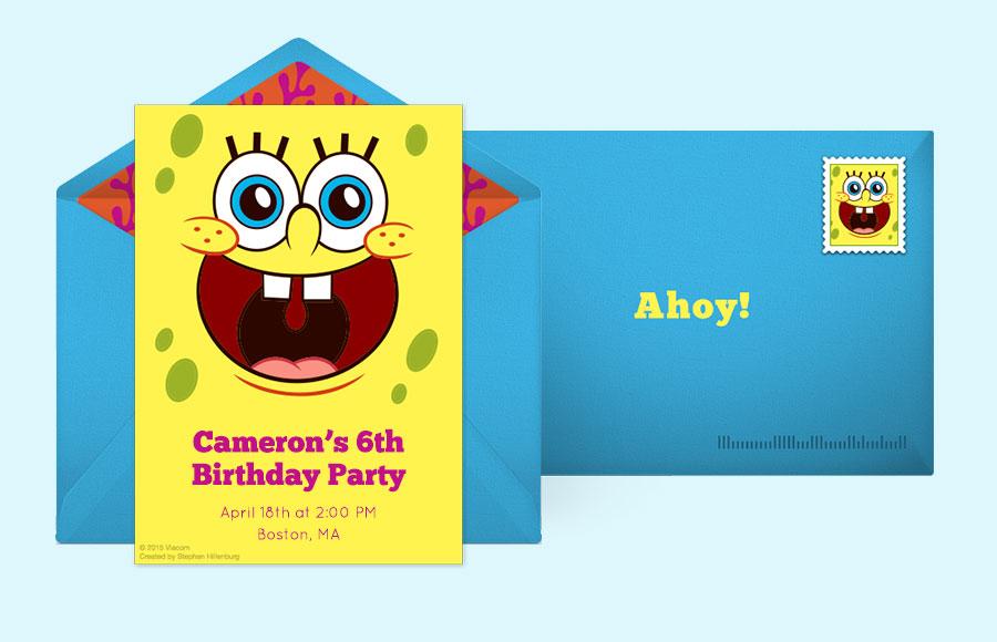 Free SpongeBob Invitations SpongeBob SquarePants Online – Spongebob Birthday Party Invitations