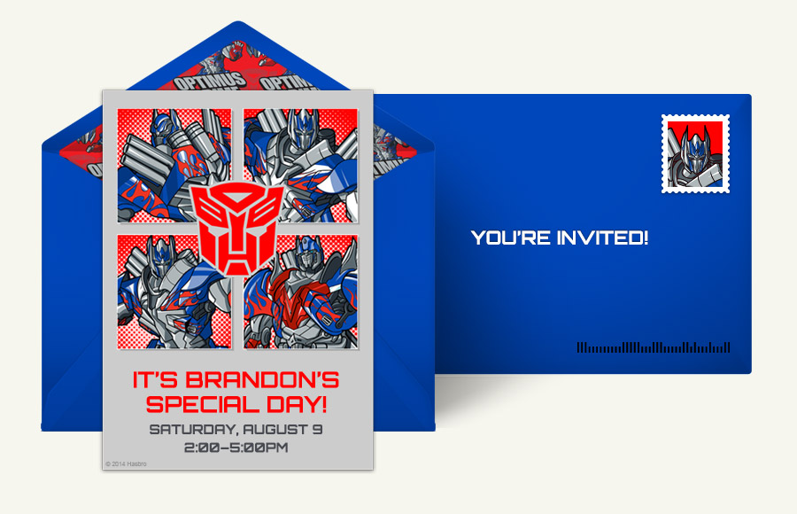 Free Transformers Invitations Transformers Online Invitations